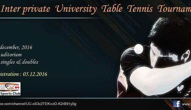 9th UIU Inter Private University Table Tennis Tournament